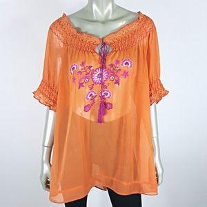 Plus Size 22 24 Orange Off Shoulder Peasant Top